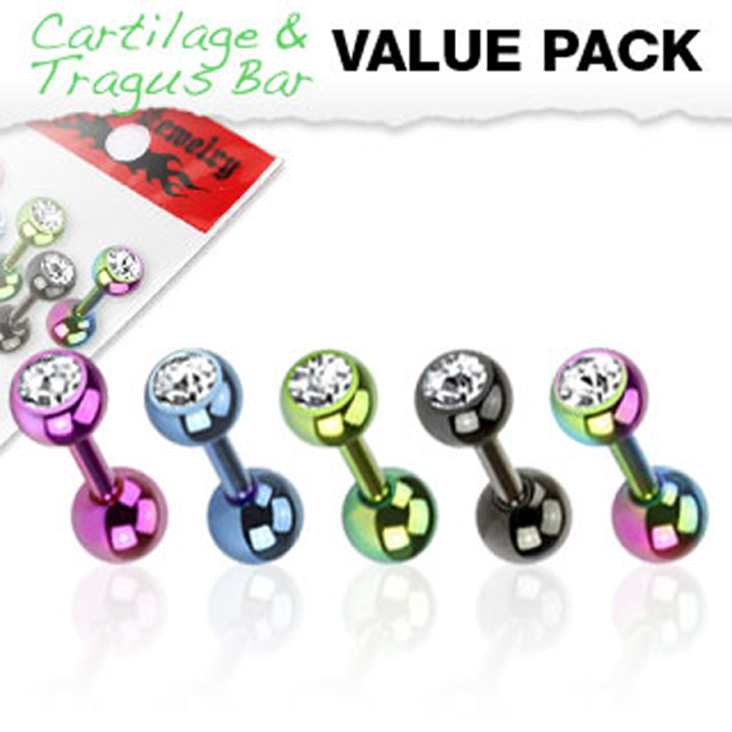 New Anodised Titanium IP Jewel Gem Tragus Cartilage Monroe Bar Studs Pack of 5