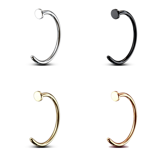 Nose Ring Piercing Hoop Stud With Flat Top Silver Black Rose Gold