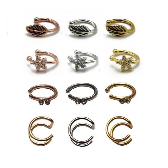 Fake Nose Clip On Ring Hoop Stud No Piercing Diamante Ebay